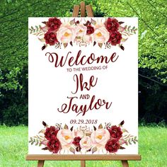 Hey, I found this really awesome Etsy listing at https://www.etsy.com/listing/538163547/wedding-welcome-sign-burgundy-maroon