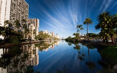 Along The Ala Wai Canal, Honolulu, Oahu - Laura spent MANY days paddling from there to the Pacific!