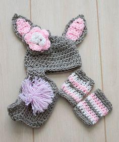 Love this Gray Crochet Bunny Prop Beanie Set Crochet Inspiration