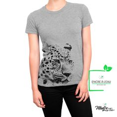 Guépard t-shirt tee cheetah t-shirt cat shirt t-shirt femme girl t-shirt women, water based inks pri Creation T Shirt, Cat Shirts, Cheetah, Screen Printing, Quality Printing, T Shirts For Women, Disappointed, Quebec, Trending Outfits