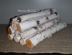Decorative White Birch Fireplace Logs/10 Piece Set/16 Inch Lengths/2 Inch &…