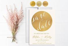 Gold Save the Date Invitation Printable