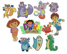 75% off on Dora The Explorer - all characters - 4x4in hoop machine embroidery designs. Re-sizable with a free downloadable utility.