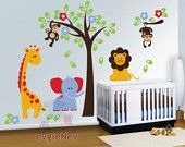 THE ORIGINAL Children Wall Decal Wall Sticker Kids Decal  - Safari Playland Set with Lion, Monkeys, Giraffe and Elephant - PLSF010R