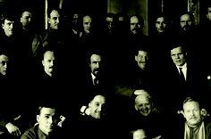 Nikolai Bukharin, Alexei Rykov, Joseph Stalin, Grigory Ordzhonikidze, Stanislav Kosior. Moscow. 1927.