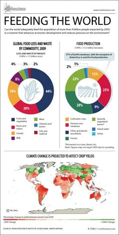Can the world adequately feed the population of more than 9 billion expected by 2050 in a manner that advances economic development and reduces pressure on the environment? Image source: LiveScience Image license: CC BY-ND Environmental Justice, Environmental Science, Economic Development, Sustainable Development, People Infographic, Infographics, Agriculture, Food Technology, Energy Technology