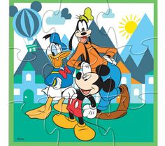 Pieced Together - 2 Adorable Disney Baby Wooden Puzzle 4-Pack Sets - Mickey Mouse