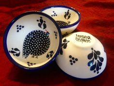 Guinea FowlCondiment Bowl by AfricanCeramicsUSA on Etsy  #southafrica #draganajevtovic #capetown #guineafowl #blue #bird #dots #designer