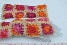 Women  fingerless gloves crochet from granny squares #cybermonday