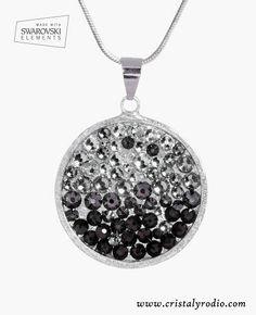 Colgante redondo con cristales grises ¡NOVEDAD! | Cristal y rodio