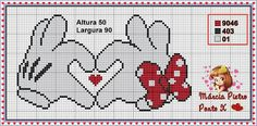 Minnie and Mickey Mouse x-stitch heart hands