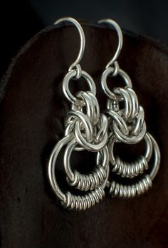 Sterling Silver Woven Earrings - Smooth Accents by unkamengifts
