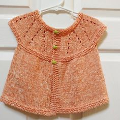 Ravelry: Girl's All-in-One Sleeveless Top pattern by marianna mel Kids Knitting Patterns, Baby Cardigan Knitting Pattern, Knitting For Kids, Knitting Designs, Baby Patterns, Baby Knitting, Crochet Baby, Knit Baby Dress, Baby Girl Sweaters