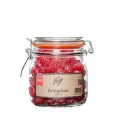 Drops: Bringebærdrops på Norgesglass (liten) - Hyttefeber.no Candle Jars, Mason Jars, Candles, Protein, Glass, Tattoo, Products, Drinkware, Corning Glass