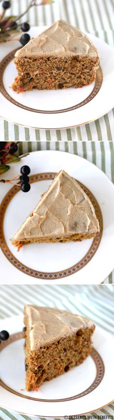 Healthy Whole Wheat Carrot Cake with a (Secret Ingredient) Maple-Cinnamon Frosting! Super moist, totally sweet and packed with flavorful spices.  It'll turn the carrot cake-hater into the carrot cake-lover.  You'd never know this cake is healthy though, with just ONE FIFTH the calories of regular carrot cake! [low fat, high protein]