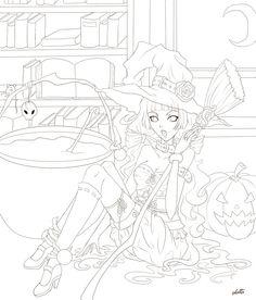 Witch lineart by elotta.deviantart.com on @deviantART
