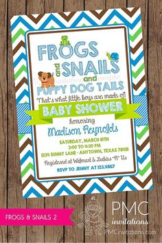 Frogs and Snails and Puppy Dog Tails Baby Shower by PMCInvitations