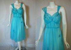 1950s Artemis Robin's egg Blue Nightgown 36 by IntimateRetreat