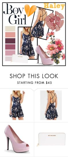 """""""Navy, Pink, Orange: Skater Dress"""" by haleysmith0713 ❤ liked on Polyvore featuring Bordello, Boy Meets Girl, MICHAEL Michael Kors and Charlotte Tilbury"""