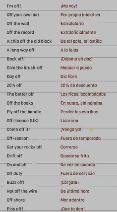 Spanish Phrases, Spanish Words, English Vocabulary Words, Spanish English, English Tips, Learn English Words, English Idioms, English Phrases, How To Speak Spanish