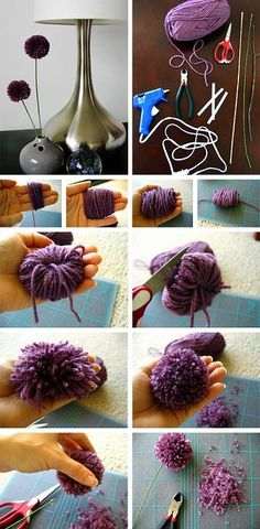 Pom pom flowers in Crafts for decorating and home decor, parties and events