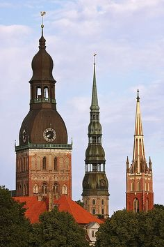 Three Towers ~ Cathedral, St. Peter's Church and St. Savior's Anglican Church, Riga, Latvia by Dmitriy Moiseyev, via Flickr
