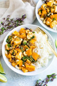 This cozy Thai-inspired pumpkin curry comes together quickly, but the robust flavor makes it taste like it's been cooking all day. It's vegan, loaded with protein and perfect as a weeknight meal. #thai #curry #pumpkin #tofu #vegan #eatingbirdfood