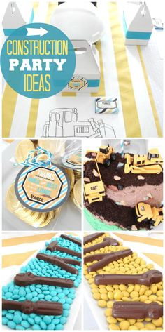 A blue, yellow and white construction boy birthday party with chocolate tools and coloring activity! See more party ideas at CatchMyParty.com!