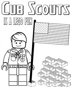 Lego * Cub Scout Coloring Page - Great for the Blue & Gold Banquet or a Regular Pack Meeting - Free Printable Clipart - Pre-Opener