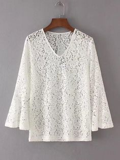 2017 Summer Style New Fashion Flare Sleeve White Lace Blouse Shirt Women Sexy V Neck Pullover Tops Elegant Ladies Brand Blusa Lace Top Dress, White Lace Blouse, White Shirt Outfits, White Shirts Women, Batik Dress, Embroidery Fashion, Flare, Casual Tops, Crochet Lace