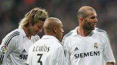 Beckham, Roberto Carlos, and Zidane Real Madrid legends