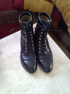 Vintage Justin boots size 9D black leather lace up by Faintimage, $75.00
