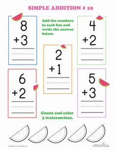 Learn simple addition with watermelons. This simple addition worksheet for preschoolers is perfect for introducing your young scholar to the subject. Addition Flashcards, Addition Worksheets, Preschool Worksheets, Preschool Kindergarten, Math Flash Cards, Math Sheets, Thanksgiving Math, School Information, Math Practices