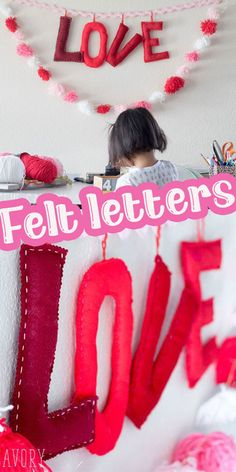 I've been wanted to make stuffed felt letters for awhile now after seeing an alphabet made with them. The version I saw was a whole set for letter play, but these felt letters just make a cute and easy Valentines decoration. I made for large felt letters to spell LOVE and then attached to a string to make a Valentines banner and today I'll show you how you can make one too.