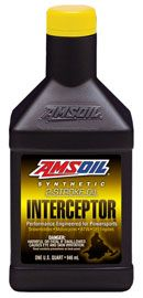 INTERCEPTOR® Synthetic 2-Stroke Oil A specialized oil for today's specialized engines High-performance 2-stroke oil with an emphasis on exhaust power valves. Contains high levels of detergent additives to prevent valve sticking. Replaces manufacturer-branded oils. Injector use or 50:1 premix. Excellent in snowmobiles, motorcycles, PWC, ATVs and jet boats.