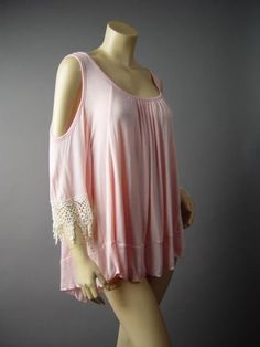 Pastel Blush Romantic Crochet Doily Cutout Shoulder Top 144 df Blouse M L #Other #Blouse #Casual