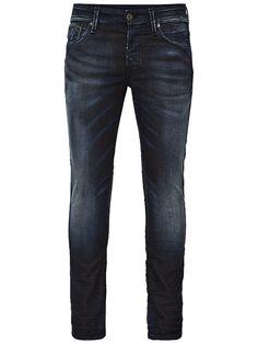Jeans Intelligence - Slim-Fit-Jeans - 5-Taschen-Stil - Low rise - Schmal geschnittene Oberschenkel und Skinny-Fit-Passform am Knie - Enger Beinabschluss - Eingriff mit Knopfverschluss - Bleichungen sorgen für den Used-Look - Markenlogo-Schildchen an der Münztasche - Entworfen und gewaschen in Italien - Indigo-Strick ist eine Vereinigung aus Denim und Sportswear-Strick, wodurch ein wahrhaft inno...