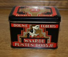 Zeer oud en nostalgisch Douwe Egberts bewaarblikje / waardepunten-doosje | Blikken bussen & trommels | TrendyRetroDesign