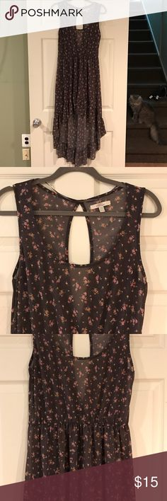 Zara Dress Floral high low dress- beautiful light fabric with lower open back. Dresses High Low