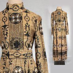 60s gold metallic maxi dress long dress by MadCrushVintage on Etsy