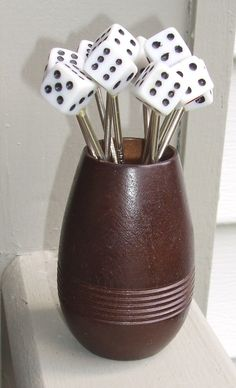 Vintage COCKTAIL Party DICE CASINO PICKS SWIZZLE STICKS BAKELITE Stainless Steel