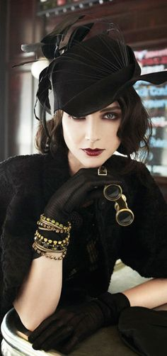 Elegance - :I love gloves & hats...the jewelry, black the glasses. I need this look for myself.
