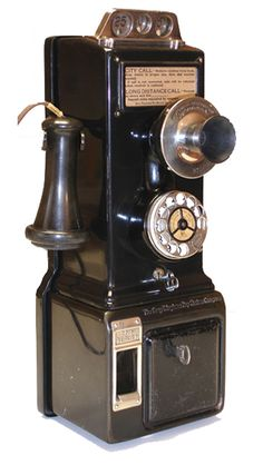 Model: model 75 three slot pay station   Made by: Gray Telephone Pay Station Co.  From: circa 1920  Courtesy of: Tom Adams