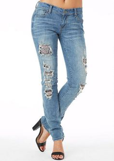 S & P By Standards & Practices Sequin Destructed Skinny