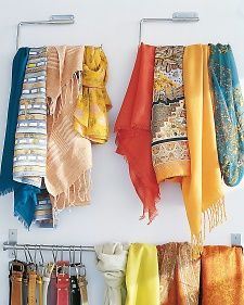 A pair of paper-towel holders mounted on the inside of one closet door organizes scarves (or ties), keeping them wrinkle-free. A kitchen-utensil rail proves to be ideal for belts. Martha Stewart Home & Garden Loo Roll Holders, Toilet Roll Holder, Paper Towel Holder, Towel Holders, Towel Racks, Paper Holders, Towel Hanger, Towel Rod, Scarf Organization