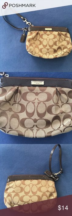 Beige coach wristlet!!! So cute! Does have some little lip gloss stained inside as pictured Coach Bags Clutches & Wristlets