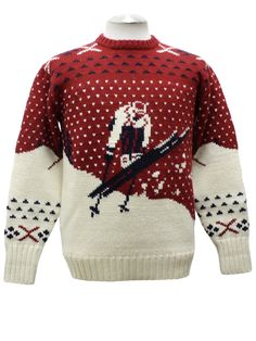 80s vintage -Polo by Ralph Lauren- Mens red white and black pullover style wool ski sweater with old school intarsia knit ski jumper, dot and snowflake pattern. Rib knit crew neck, cuffs and waistband. Some almost imperceptible tonal variations in off white area. I believe they are inherent to original wool coloration. Overall minor pilling.