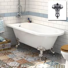1710mm Victoria Traditional Roll Top Back to Wall Bath - Ball Feet - Large
