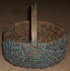 "Heavy Oak Splint 19th Century Egg Basket Old ""Sky"" Blue Painted Surface Nice 