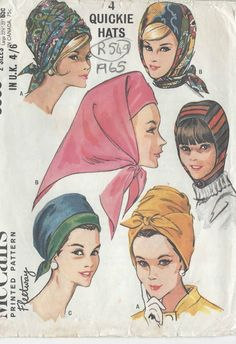 MOD Hat Pattern McCALLS 8009 Vintage Sewing Pattern 4 Quickie Hats Chic Wrap Turban Pleated Hood Helmet Scarf Millinery FACTORY FOLDED-Authentic vintage sewing patterns: This is a fabulous original dress making pattern, not a copy. Mccalls Sewing Patterns, Vintage Sewing Patterns, 1960s Fashion, Vintage Fashion, Caroline Reboux, Image Mode, Head Scarf Styles, Look Vintage, Vintage Hats